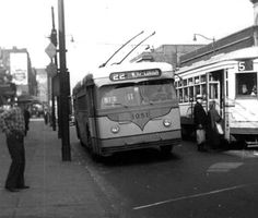 Cleveland Transit Car and Trackless Trolley at West 25th St. and Bridge Ave., date unknown.