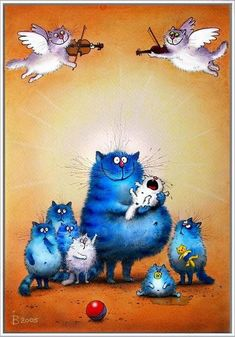 DIY Needlework Diamond Embroidery Diamond Painting Cross Stitch Blue Cat Family And Angels Player Full Drill Paintings I Love Cats, Crazy Cats, Cool Cats, Image Chat, Matou, Photo Chat, Cat Quilt, Blue Cats, Cross Paintings