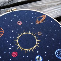 Solar System Embroidery Art 8 hoop celestial by TheBeefyChicken
