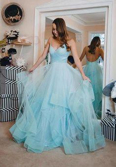 Tiered prom dress - Blue V Neck Tulle Long Prom Dress Hot Evening Dress – Tiered prom dress Backless Prom Dresses, A Line Prom Dresses, Tulle Prom Dress, Prom Party Dresses, Party Gowns, Dresses For Teens, Graduation Dresses, Dance Dresses, Strapless Dress Formal