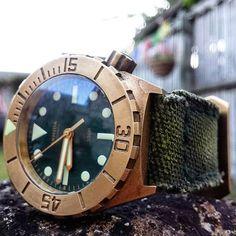 Armida Bronze diver 0n Canvas Verte strap.