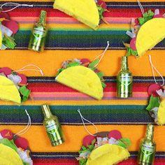 Mini Taco Piñatas Ornaments Fiesta Decorations Cinco by lulaflora