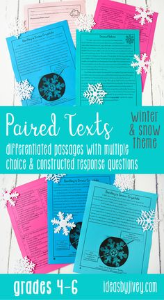 Paired texts and passages are great for providing students with more rigorous, complex texts for them to compare and build knowledge and draw conclusions. These differentiated passages are perfect for 4th grade and middle school! Click the pin to see some of the texts included!