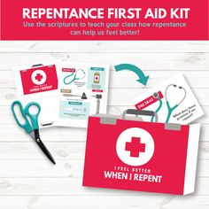 Repentance First Aid Kit - Great teaching visual for Primary 3 Lesson 10 (Repentance)