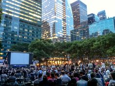 Summertime is the best time to watch an outdoor move in bryant park