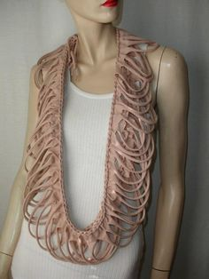 womens shredded braided by JohnnyVegasOriginals Crafts From Recycled Materials, Recycled T Shirts, Fabric Necklace, Tans, Womens Scarves, Braids, Chain, Trending Outfits, My Style
