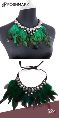""" Green Goddess"" Feather Necklace This necklace is so beautiful and daring. She feature green feathers with Faux stones hanging on a black ribbon. The black ribbon creates a custom fit as it can be hung lower on the chest or upward as a chocker. Wear for casual fun appeal with jeans or with a risk taking jazzy dress. She won't last long. Take advantage. Crowned In Royalty Jewelry Necklaces"