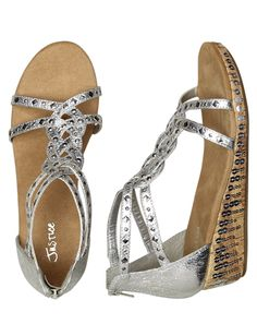 Girls Clothing | Sandals | Braided Sequin Wedge Sandals | Shop Justice