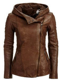 Danier Hooded Brown Leather Jacket.  Adore.