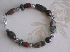 Burgandy Gemstone & Metal Bracelet Metal by dmartinboutique