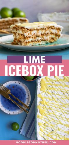 For a no bake lime cheesecake flavor, make this easy lime icebox pie! Make it in advance and freeze, or assemble a few hours before serving. Either way, it's delicious!  #nobake #easydessert #limedessert Lime Desserts, Easy Summer Desserts, Desserts For A Crowd, Summer Treats, Best Dessert Recipes, Easy Desserts, Cake Recipes, Amazing Recipes, No Bake Granola Bars