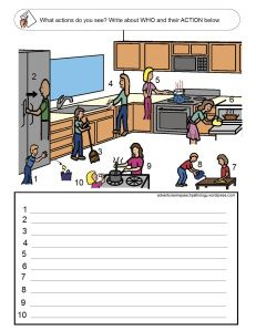 subject + verb loaded worksheets. I'll write  a prompt: The-------------is--------------ing.