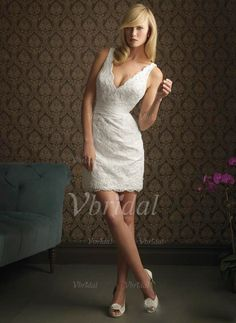 73ff94965e6 Glittering Sheath Column Short Mini V-neck Lace Wedding Dress picture 1
