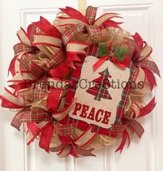 Deco Mesh Christmas Wreath  Wreath  by BrendasCreativeCakes