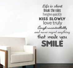"Svejo Living Muurtekst ''Never Regret Anything That Made You Smile''. Svejo Living muursticker ""Never regret anything that made you smile"" De ''Never. Vinyl Quotes, Text Quotes, Wall Quotes, Qoutes, Quotes Quotes, Quotable Quotes, Funny Quotes, Wall Stickers Text, Wall Text"