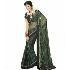 #Designer Suit #Party Wear Saree Shop now : http://www.valehri.com/exquisite-black-chiffon-saree-1579