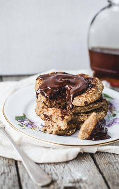 Oatmeal Chocolate Chip Cookie Pancakes for One {vegan, gluten free}