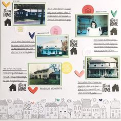 "Putting my new purchases from @feedyourcraft to good use! The ""At Home"" stamp set gave me the idea for this page about the places that I consider ""home"": my childhood home, my grandparents' & great-grandparents' homes, my parents' current home and where I live now. I also added some of the flat flair from ""The Story"" flat pack - I really like this new addition to the shop!    #scrapbooking #memorykeeping #scrapbookpage #scrapbooklayout #feedyourcraft #ellesstudio #dearlizzy"