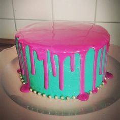 Color dripping cake