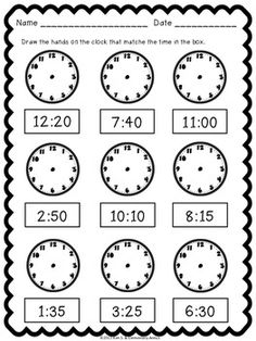 Telling Time Pack {Worksheets, Game & Task Cards} by Kim Solis 3rd Grade Math Worksheets, 1st Grade Math, Preschool Worksheets, Teaching Time, Teaching Math, Learning Activities, Time Activities, Math Lessons, Spanish Lessons