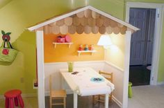 """Playhouses aren't just for the great outdoors. This simple structure makes an otherwise standard room a fantastic indoor playroom"". Ohhhhhhhhhhhhh."