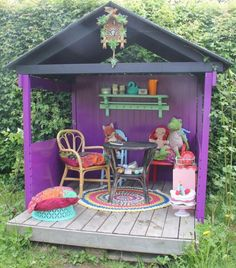 "Very simple play house. Oh my gosh, this reminds me of a mini version of Jill's ""Party House"". How amazing would it be to have a playhouse that doubled as a tribute to that happy little space?!"