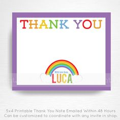 Rainbow Birthday Party Thank You Note YOU PRINT Girl Rainbow Party Decorations  This is an emailed file, nothing will be shipped to you. Please