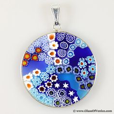 Large millefiori pendant in gold plated frame 32mm pendants large millefiori pendant in sterling silver frame 32mm venetian glassmurano mozeypictures Images