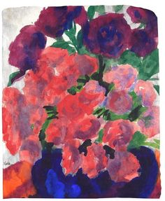 Peonies in blue vase by Emil Nolde (probably 1930s-40s). In his houses at Utenwarf and in Seebüll, Nolde created elaborate gardens filled with a wide range of exotic flowers from all around the globe. Description from pinterest.com.