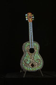 portland mosaic guitar by Elaine Summers Mosaic Art, Mosaic Tiles, Guitars, Diy Decorating, Acoustic Guitar, Portland, Ears, Instruments, Crafts