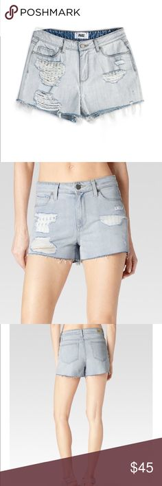 """Paige Callie Shorts in Blue Sawyer Destructed Excellent condition size 26 denim cutoff shorts. High rise boyfriend short featuring a borrowed-from-the-boys silhouette and a short 2.5"""" inseam. This pair comes in a super light wash with a frayed hemline and heavy distressing that reveal two stylish striped pocket linings. PAIGE Shorts Jean Shorts"""