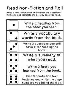Dice Games - non fiction, fiction, spelling, dictionary, thesaurus: Have each student roll the dice and complete the assignment. Great seat work during guided.