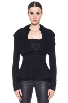 FALL 2013: THE LUST LIST |  ALEXANDER MCQUEEN Peplum Ribbed Sweater Jacket in Black