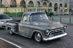 bare metal Chevy pick-up