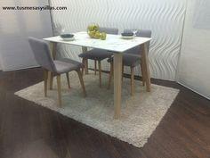 mesa moderna de diseño en estilo nordico en blanco y madera para cocina y comedor