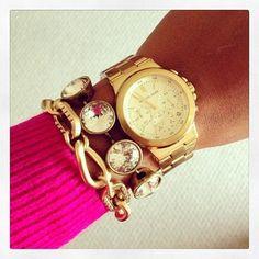 Mark Jacobs watch with chunky bracelets.