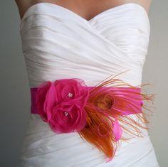 Pink and Orange Peacock Bridal Sash - BAYLEE - Fuchsia and Orange Peacock Sash One Month Turn Around. $99.00, via Etsy.