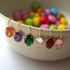 14k Gold Earrings,Solid Gold Earrings,Gold Drop Earrings,Zircon Drop Earrings,Colorful Drop Earrings,Cubic…