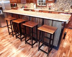 Rustic Bar Stool with Wrought Iron Legs. Handcrafted with Reclaimed Barn Wood on Etsy, $115.00