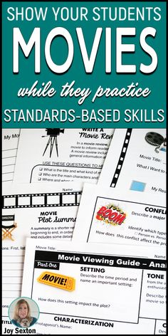 Show movies in class and let your students analyze meaningful, standards-based ELA concepts with this engaging movie guide. Perfect for substitute lesson plans! Writing activities and more for middle and high school. Middle School Movie, Middle School English, High School Classroom, Ela High School, Ela Classroom, High Schools, Classroom Resources, Teaching Resources, English Lesson Plans