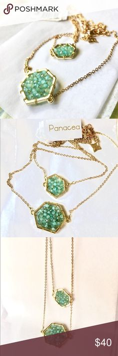 Panacea Double Chain necklace Unique and eye-catching acqua marine gemstones beaded into the geometric-style double pendant. Will come in a box : ) Panacea Jewelry Necklaces