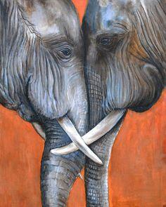 Schilderij Olifanten Acrylverf op canvas door SandraSchilderijen, €250.00 #painting #etsy