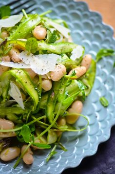 Shaved asparagus and white bean salad.