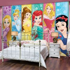 Giant size wallpaper mural for girl's bedroom. Disney Princesses wall decoration…