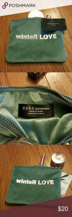 NWT Zara make up bag Blue faux suede make up bag. NWTs Super cute, fun bag. zara Accessories