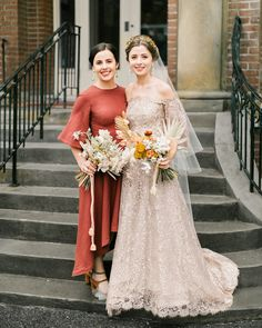 kae danny wedding bride with sister Colored Wedding Dresses, Best Wedding Dresses, Bridesmaid Dresses, Dress Wedding, Bridesmaids, Bridesmaid Hairstyles, Wedding Bouquet, Wedding Hairstyles