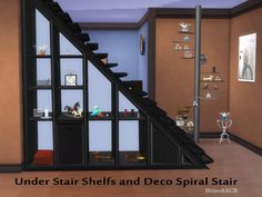 Under Stair Shelfs and Deco Spiralstair by ShinoKCR at TSR • Sims 4 Updates