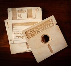 Floppy Disk Coasters Made from Wood, Not Floppies