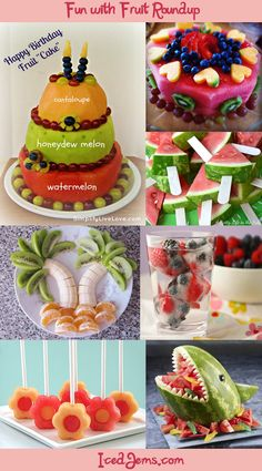 I need to make one of these fruit cakes. Fruit Carvings and Watermelon Cake Designs Roundup from IcedJems Bolos Light, Cute Food, Yummy Food, Delicious Fruit, Fruit Creations, Food Carving, Fruit Decorations, Fruit Arrangements, Fruit Art