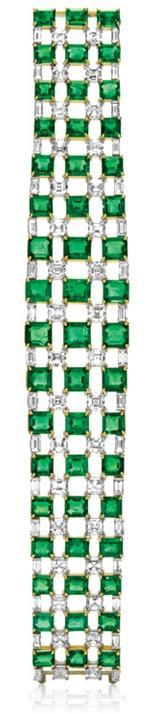 Central Park by Harry Winston, Emerald and Diamond Bracelet.     51 emerald-cut emeralds, 47.55 total carats; 68 baguette and square emerald-cut diamonds, 24.51 total carats; 18k yellow gold and platinum settings.